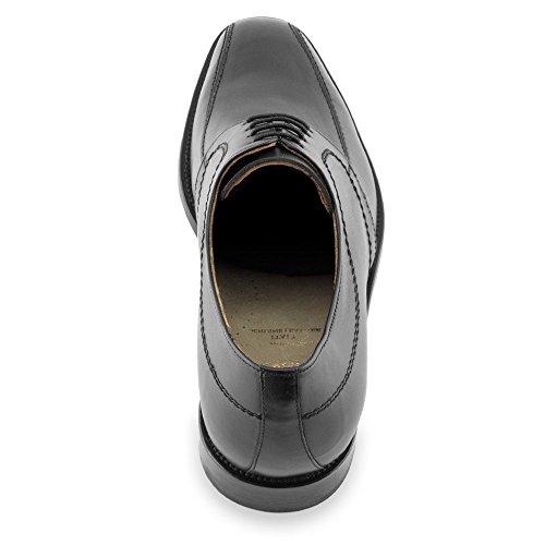 Masaltos Scarpe con Rialzo da Uomo Che Aumentano l'Altezza Fino a 7 cm. Fabbricate in Pelle. Modello Novara Nero