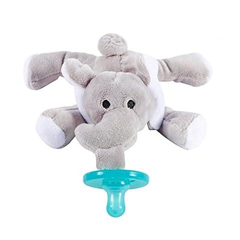 LESHP Sucette pour Bébé Sucettes Farcies d'Éléphant Bébé jouets avec Silicone Binky Dentition Soother Titulaire de sucette sans BPA pour bébé et enfant en bas âge