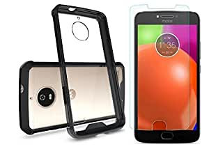BestTalk Moto E4 Plus Accessory Combo(1 Arclic AirHybrid Back Cover(black)with 1 Ultra Hd Premium Tempered Glass)