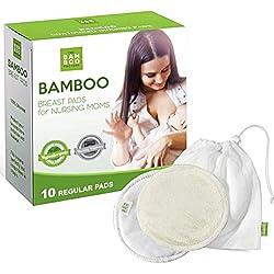 Coussinets d'allaitement réutilisables - Kit allaitement 10 coussinets en bambou bio - Coussinet d'allaitement lavable en fibres de bambou de forme régulière très doux, anti-fuites et ultra absorbant