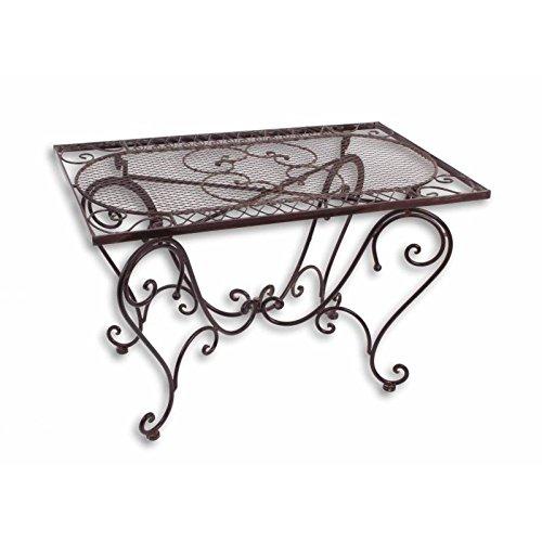 L'Héritier Du Temps Table Basse Rectangulaire Fer Couleur Marron Console Desserte Table d'Appoint Pliable de Jardin 50x56 x 85 cm