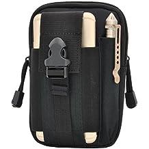 Tactical Molle bolsa multiusos compacta utilidad EDC Gadget cinturón impermeable bolsa de camuflaje de nailon con teléfono celular Pack Gear Organizador de herramientas, negro