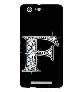 Alphabet F 3D Hard Polycarbonate Designer Back Case Cover for Gionee Marathon M5