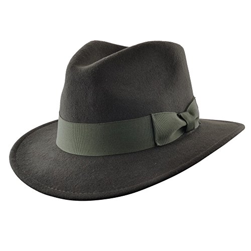 Crushable Hand Made Gents Indiana Wool Felt Fedora Trilby Hat With Wide Band