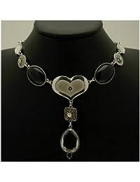 Acosta - esmalte marfil, negro cuentas y cristales de Swarovski en forma de lágrima de cristal para pulsera - Chic - collar con colgante en forma de corazón caja de regalo