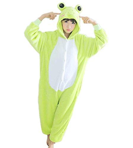 WRH Kigurumi Pyjamas Eltern-Kind-freundliche Cartoon Frosch einteilige Pyjama Langarm im Herbst und Winter plus Größe Coral Fleece Kostüm Cosplay Kostüm , (Frosch Kostüm Kinder Machen)