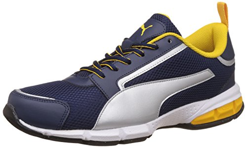 Puma Men's Peacoat, Puma Silver, Puma White and Spectra Yellow Running Shoes - 8 UK/India (42 EU)