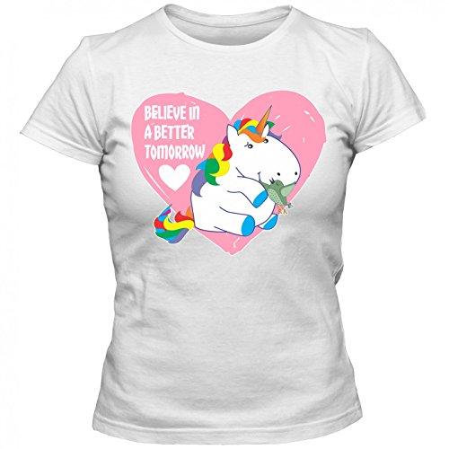 Einhorn belive in a better tomorrow #3 T-Shirt | Unicorn | Regenbogen Wonderland | I Love Unicorn | Frauen | Shirt © Shirt Happenz Weiß (White L191)