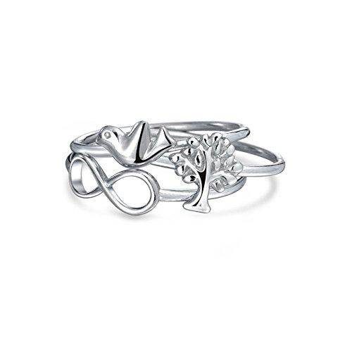 Bling Jewelry Infinity Baum des Lebens Taube stapelbar Midi Ring 925 Silber (Stapelbar Baum)