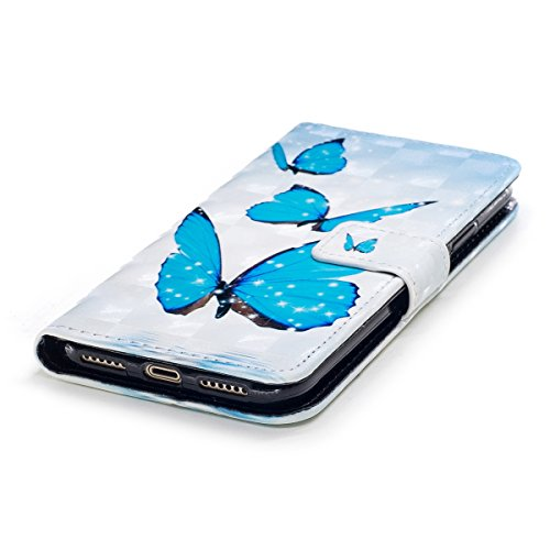 Cover iPhone X, Custodia iPhone X, Cover Flip Portafoglio in Pelle + Case in Silicone TPU Morbido, Surakey 2 in 1 Cassa del Telefono [Elegante Wallet con Porta Carte] Custodia a Libro Chiusa Magnetica Farfalla Blu