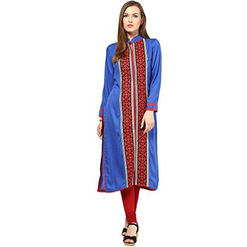 3/4 sleeve Embroidered rowan kurtis Blue