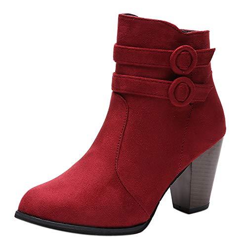 ZODOF Moda Mujer Invierno Botines Chelsea Tacón Alto Tobillo Botas Señoras Plataforma Zapatos Altos...