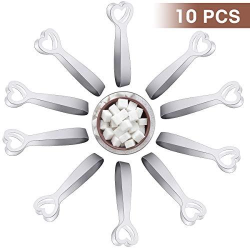 LIUMY 10 Stücke Zuckerzange, Material aus rostfreiem Stahl Silber
