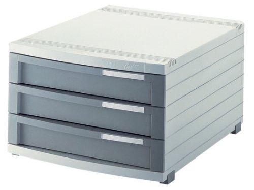 HAN 1503-19, Schubladenbox CONTUR, Modernes Organisationssystem, Ausbaubar, Premium Qualität für die Professionelle Organisation mit 3 geschlossenen Schubladen, lichtgrau-dunkelgrau (Moderne 3 Schubladen)