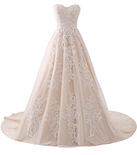 Erosebridal Charmant Schatzapplique Spitze Vintage Brautkleid 2018 Prinzessin Hochzeitskleid Weiß...