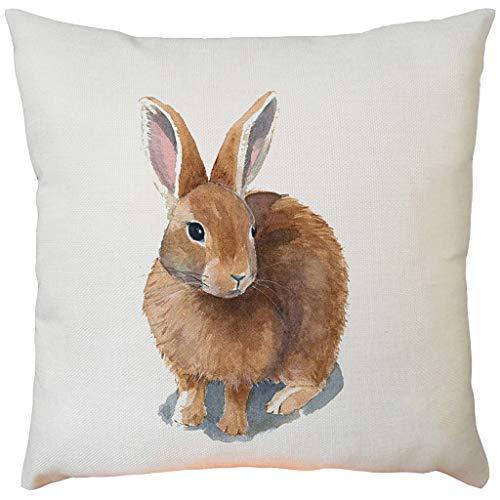 Lazzboy Bunny Kissenbezug 45x45 cm Frohe Ostern Dekorationen Für Zuhause Ostern Kaninchen Eier Muster Kissenbezug Hochzeit Party Supplies(F,45cmX45cm)