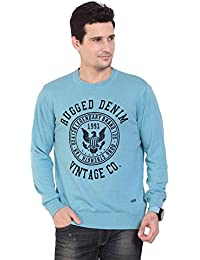 TAB91 Men's Cotton Rich Blue Round Neck Pullover