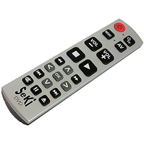 Lernfähige Großtasten-Fernbedienung für DVD- & BlueRay-Player SeKi DVD Silber-Sc (Blue Ray Player Silber)