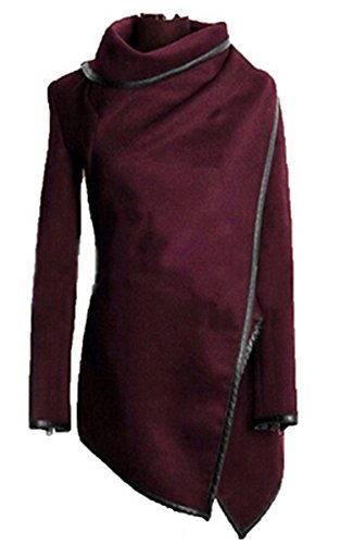 Hikenn Damen Elegant Mantel Wollmantel Wintermantel Trenchcoat Jacke Jacket Overcoat Coat Outwear Weinrot