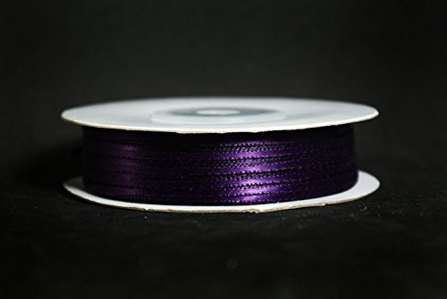 Made in Taiwan Double Face Satin Ribbon Polyester 100yrds Spool 1/8 Plum by CalCastle -