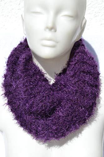 Loop Schlauchschal Schal Loopschal violett lila gestrickt vegan von Hand gestrickt