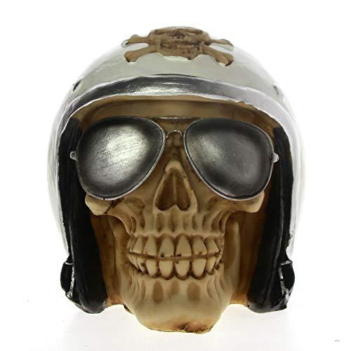 Schädel Mit Pilotenhelm Und Aviator Shades Skeleton Figurine Skulptur Halloween Decor Fighter Jet Flugzeug Pilot Skull Statue