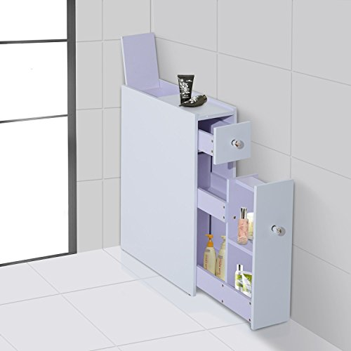 Home Treats Bathroom Storage Unit Floor Cabinet In White With Slide Out Storage Shelf