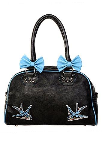 Banned Prohibido Azul Swallows Bolso de Mano Diseño de Lazo