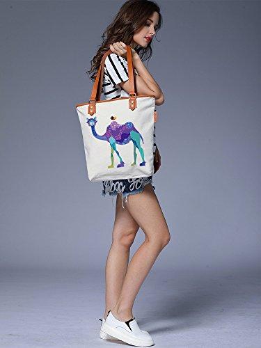 S.CHU Women's Cute Camel Canvas Leather Tote Handbag Ladies Shoulder Bag Beige