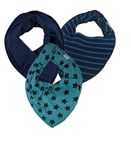 Name it 3er Set UNI ~ verschiedene ~ Baby Dreieckstücher Halstuch Lätzchen 3 Stück ~ zur Auswahl (Sterne aqua - dunkelblau - aqua gestreift)