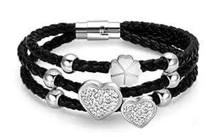 Luca Barra BK510 Armband aus Leder mit silbernen Herzen, schwarz