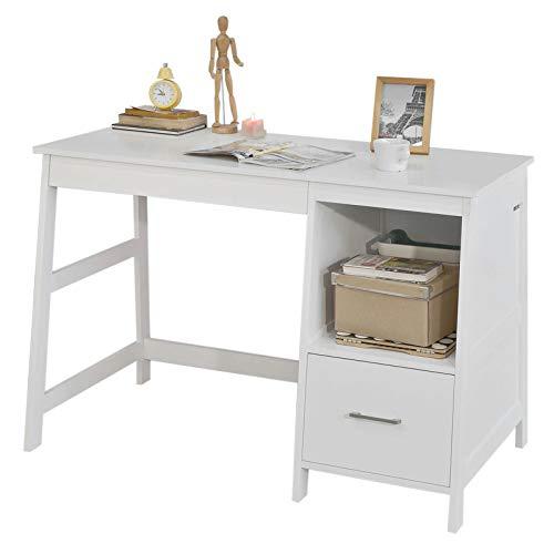 SoBuy FWT38-W Schreibtisch mit Schubladen Computertisch Kinderschreibtisch Bürotisch mit Gratis-Schubladenteilern Tisch weiß BHT ca: 120x78x50cm