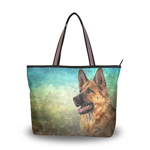 alaza Tote Umhängetasche Ger Schäferhund Vintage-Handtasche Groß -