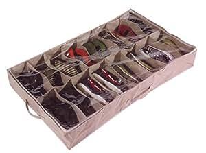 Large Heavy Duty 16 Pocket Underbed Shoe Storage Bag For