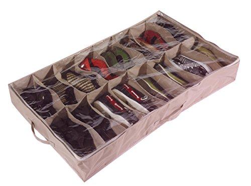 Caja organizadora de zapatos para debajo de la cama para 16 pares, de robusta lona Oxford de 600D...