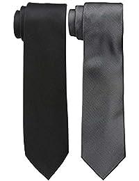 Sorella'z Mens Satin Black & Grey Necktie Combo