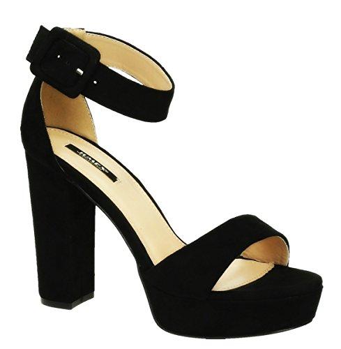 Sommer Damen Riemchen Abend Sandaletten High Heels Pumps Velours Peep Toes Party Schuhe Blockabsatz 007 (38, Schwarz)