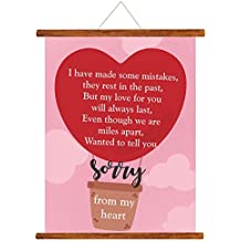 YaYa cafe Sorry Greeting Card Gift for Girlfriend Wife Boyfriend Husband Sorry from My Heart Scroll - 15 x 20 inches
