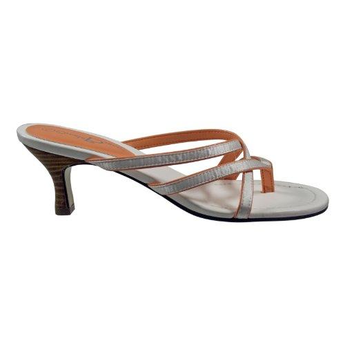 Ornela Brenti 31821-908 Damen Schuhe Premium Qualität Pantolette Weiß (weiss-orange) [EU 38.0]