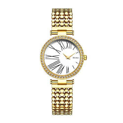 TOMSSL Goldene Silberne Dame Girl Lady Simple Diamond Ultradünne 8mm Quarzuhr 35mm Massiver Stahlgürtel Mode Wasserdicht 3ATM Student Schön und großzügig (Farbe : Gold)