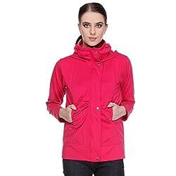 TeeMoods Womens Fleece Cotton Blend Full Sleeves Dark Pink Sweatshirt Hoodie Jacket With Zip For Ladies (XLarge)