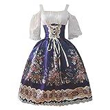 YueLove Damen Gothic Midi Kleider Vintage Cold Shooulder Lantern Halbarm Floral bedrucktes Swing...