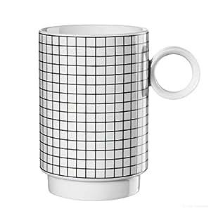 ASA Memphis Set da 2 Tazze con Manico, Tazza da Caffè, Mug, Ceramica, Quadrati, Nero / Bianco, 250 ml, 16061038