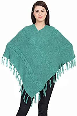 BOXYMOXY Designer Turquoise Color Poncho Sweater Pullover with Fringes and Cable Design in Free Size