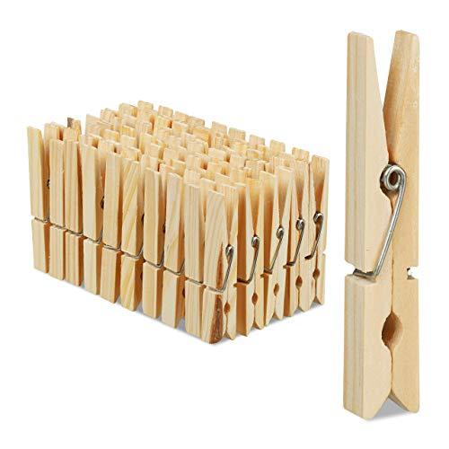 Relaxdays Wäscheklammern Holz, 100er Set, große Holzwäscheklammern, Basteln, Klammern zum Trocknen, Metallfeder, Natur, HBT: 1 x 1,4 x 7 cm