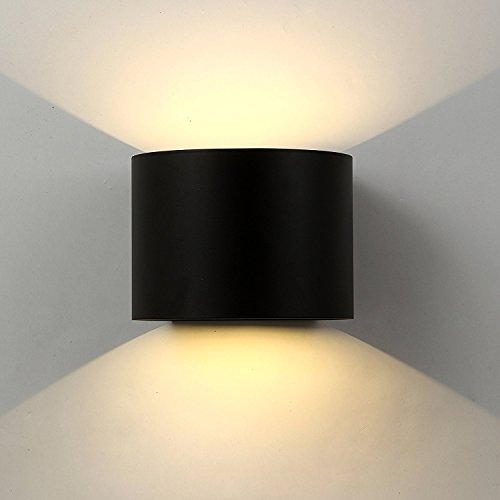 12W Applique Led Mural Exterieur / Interieur,lampe murale Moderne étanche IP65 Réglable Lampe Up and Down Design Pour Couloir,Escalier,Salle d'exposition,Salon (Noire)