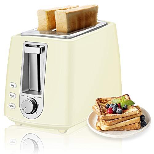 CUSIBOX Toaster, 2-Scheiben Mini Retro-Toaster 750W mit 6 Bräunungsstufen, Auftauen, Aufwärmen & Abbrechen Funktionen, BPA frei (Elfenbein)
