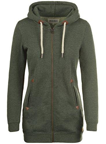 DESIRES Vicky Straight-Zip Damen Lange Sweatjacke Kapuzenjacke Sweatshirtjacke Mit Kapuze Und Fleece-Innenseite, Größe:M, Farbe:Climb Ivy (8785)