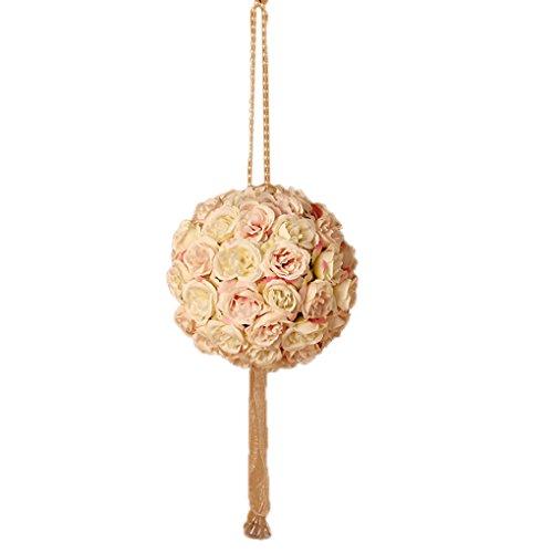 Nesno 15 centimetri di nozze romantico fiore della Rosa palle nuziale Bouquet sfera Fiore partito beige e nero