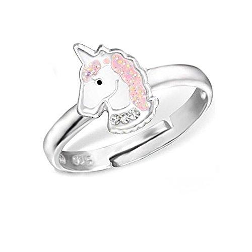 Kinder Ring 925 Echt Silber Mädchen Fingerring Emaille Kristalle Verstellbar (Einhorn CZ / 11 x 8mm) (Gold Baby-mädchen Charms)